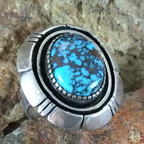 Vintage Turquoise Sterling Silver Ring Size 6.5 - Estate Jewelry