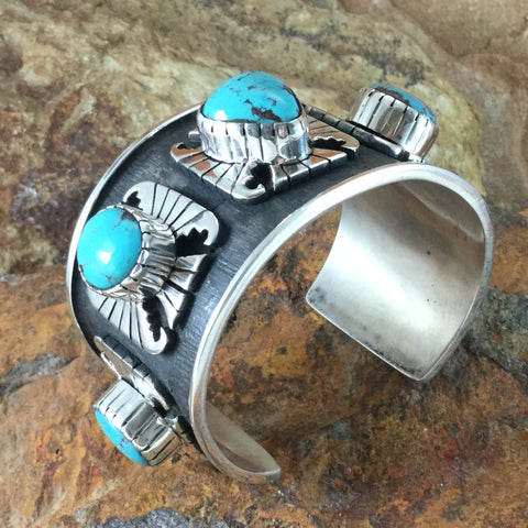 Bisbee Turquoise Sterling Silver Cuff Bracelet by Billy The Kid