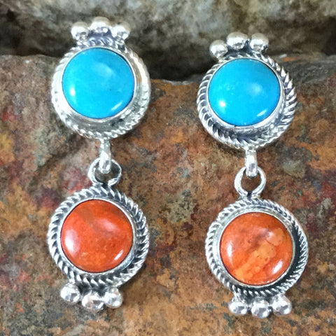 Kingman Turquoise & Orange Spiny Sterling Silver Earrings by Bobby Johnson