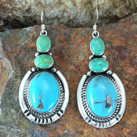 Campitos & Mexican Green Turquoise Sterling Silver Earrings by Delbert Delgarito