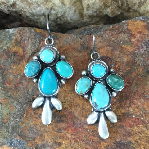 Carico Lake and Fox Turquoise Sterling Silver Earrings by Dorothy Ashley