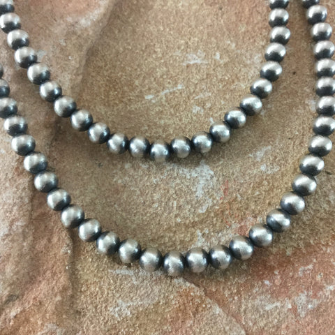 "20"" Single to Double Strand Oxidized Sterling Silver Beaded Necklace"