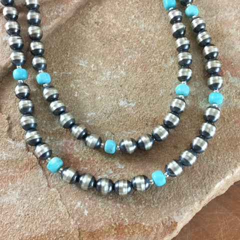 "36"" Single Strand Campitos Turquoise and Sterling Silver Beaded Necklace"