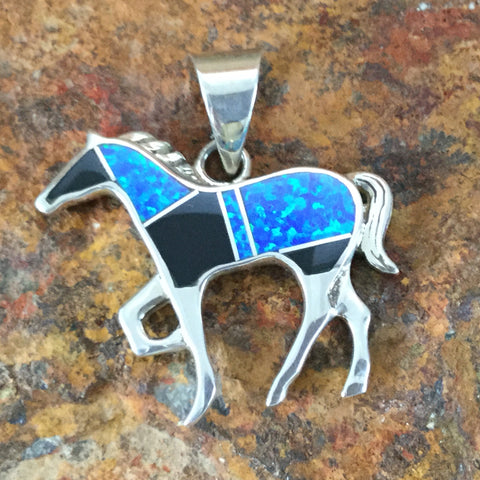 David Rosales Black Beauty Inlaid Sterling Silver Pendant Horse
