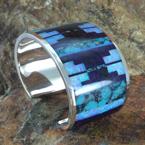 David Rosales Shalako Fancy Inlaid Sterling Silver Bracelet