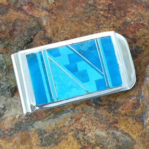 Arizona Blue Inlaid Sterling Silver Money Clip
