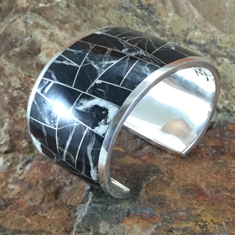 David Rosales White Buffalo Inlaid Sterling Silver Bracelet