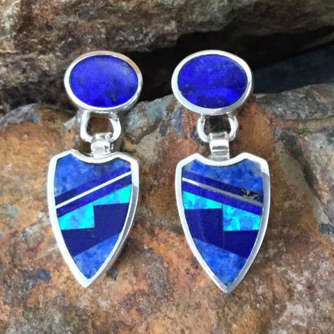David Rosales Blue Sky Fancy Inlaid Sterling Silver Earrings