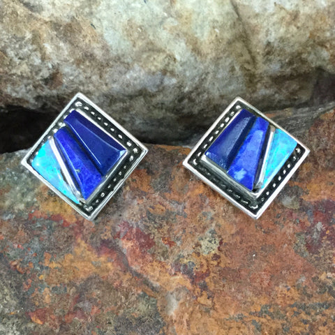 David Rosales Blue Sky Inlaid Sterling Silver Earrings