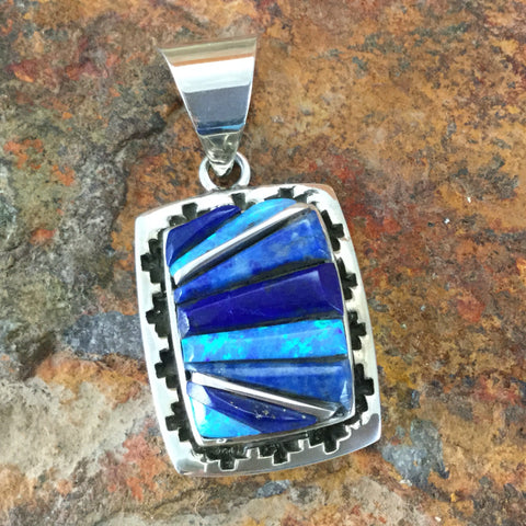 David Rosales Blue Sky Inlaid Sterling Silver Pendant