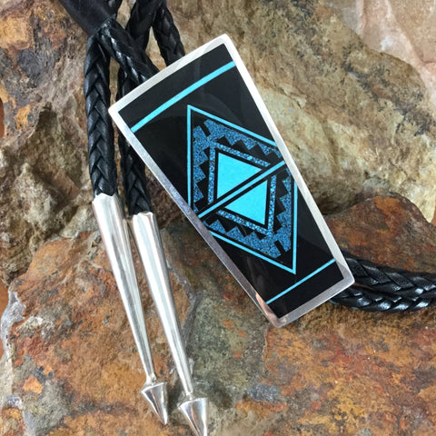 David Rosales Shadow Peak Fancy Inlaid Sterling Silver Bolo Tie