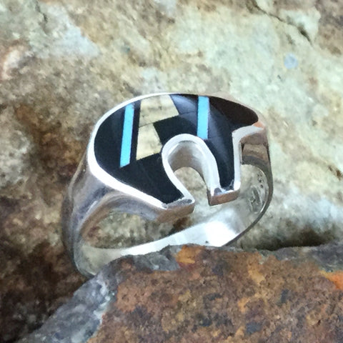 David Rosales Turquoise Creek Fancy Inlaid Sterling Silver Ring Bear