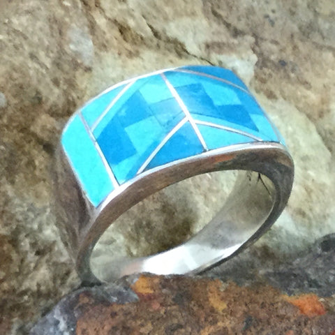 David Rosales Arizona Blue Fancy Inlaid Sterling Silver Ring