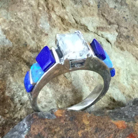 David Rosales Blue Sky Cobble Inlaid Sterling Silver Ring w/ Cubic Zirconia