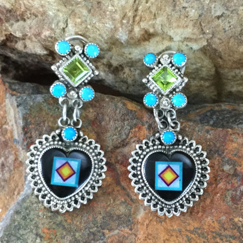 Sleeping Beauty Turquoise & Onyx Sterling Silver Earrings Heart by Valerie Aldrich