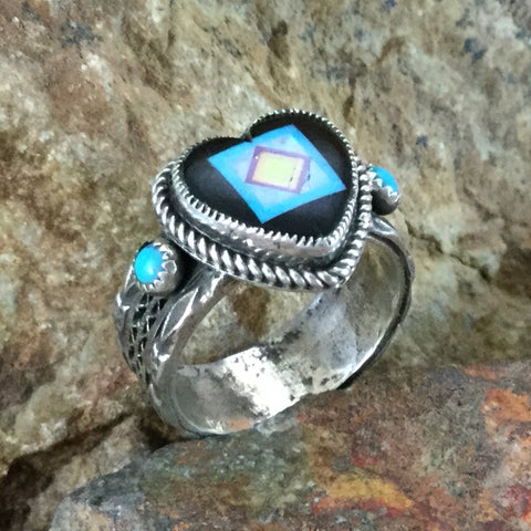Sleeping Beauty Turquoise & Onyx Sterling Silver Ring Heart by Valerie Aldrich