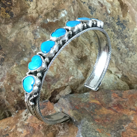 Sleeping Beauty Turquoise Sterling Silver Bracelet w/ Hearts by Valerie Aldrich