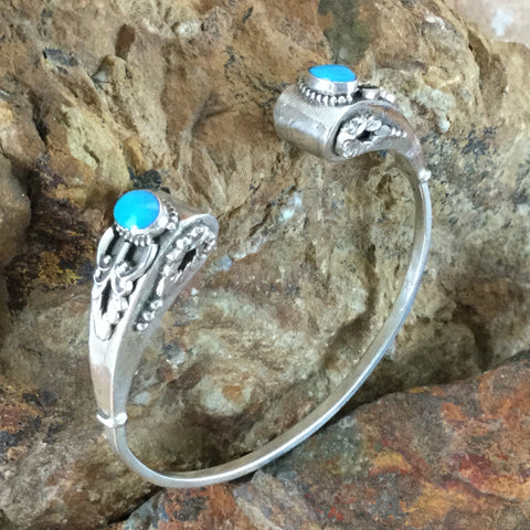 Sleeping Beauty Turquoise Sterling Silver Bracelet by Valerie Aldrich