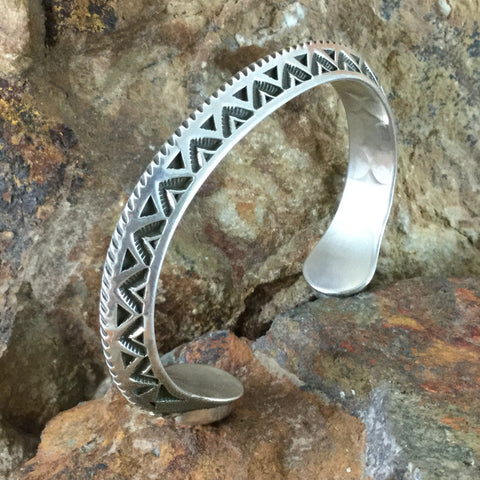 Traditional Sterling Silver & Kingman Turquoise Bracelet by K. Nataani