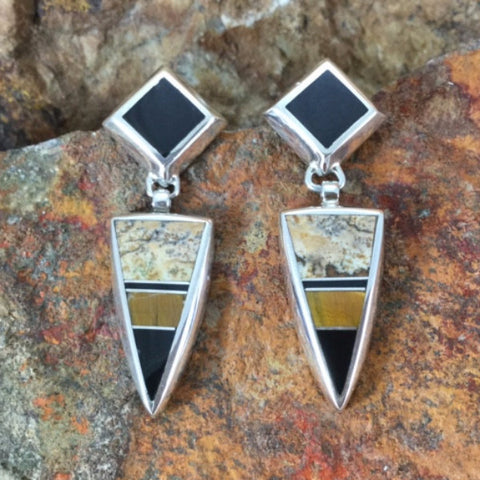 David Rosales Native Earth Inlaid Sterling Silver Earrings
