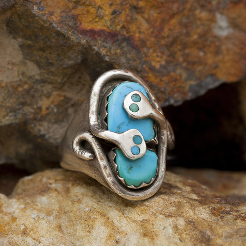 Zuni Effie C. Turquoise Ring - Sterling Silver - Estate Jewelry
