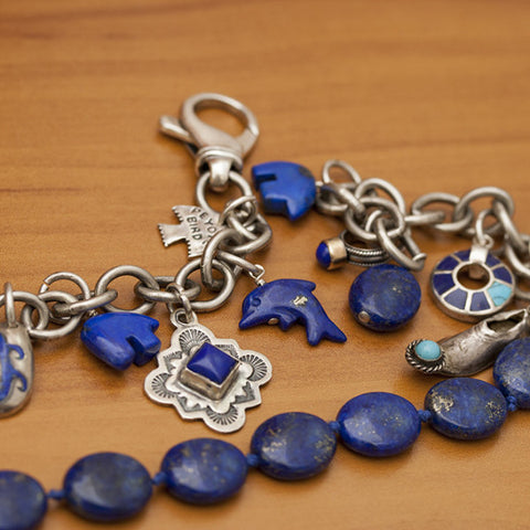 Lapis & Turquoise Charm Sterling Silver Bracelet