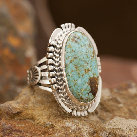 Number 8 Turquoise Sterling Silver Ring - SIZE 7