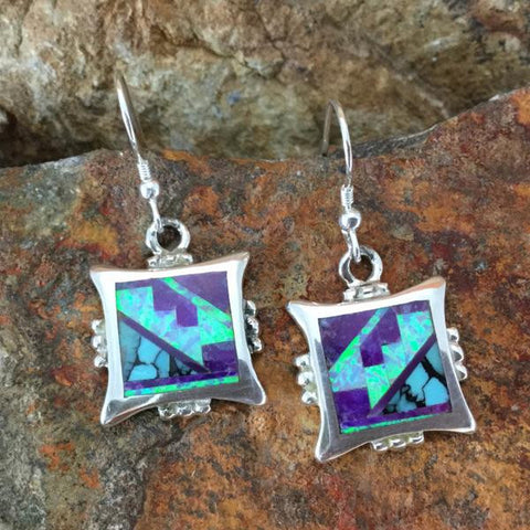 David Rosales Shalako Fancy Inlaid Sterling Silver Earrings