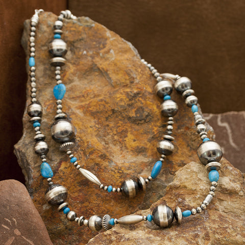 "36"" Sleeping Beauty Turquoise & Oxidized Beads Necklace"