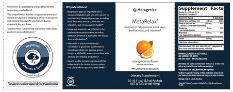 Metagenics | MetaRelax Orange Citrus Flavor | 30 Servings