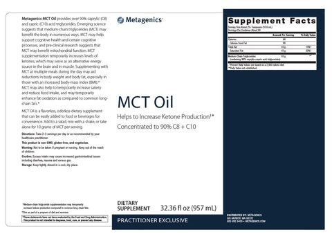 Metagenics | MCT Oil Plastic Bottle | 90 Servings