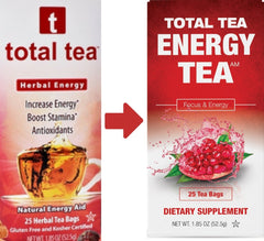 Total Tea | Herbal Energy Tea | 25 Tea Bags Per Box