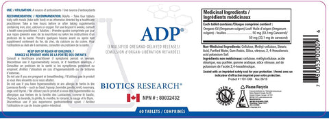 Biotics Research | ADP | 60 Tablets | Ingredients