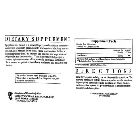 Ecological Formulas | Liver Extract | 90 Capsules