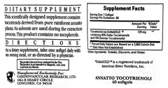 Ecological Formulas | Annatto Tocotrienols 125mg | 60 Softgels