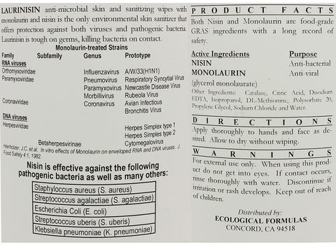 Ecological Formulas | Laurinisin Anti-microbial Towelettes | 120 Wipes