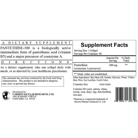 Ecological Formulas | Pantethine 300mg | 60 Softgels