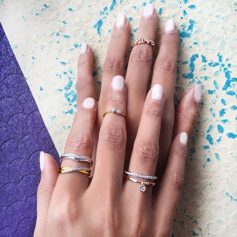 Minimalist midi rings at Radiant Bay