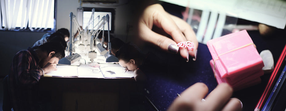 Assorting of diamonds and wax setting- Jewellery Manufacturing Process