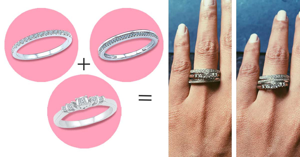 5 ways to style your wedding band- Stack them up and switch them around.