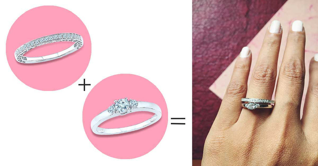 5 ways to style your wedding band - Play up your bigger stone with a petite diamond band.