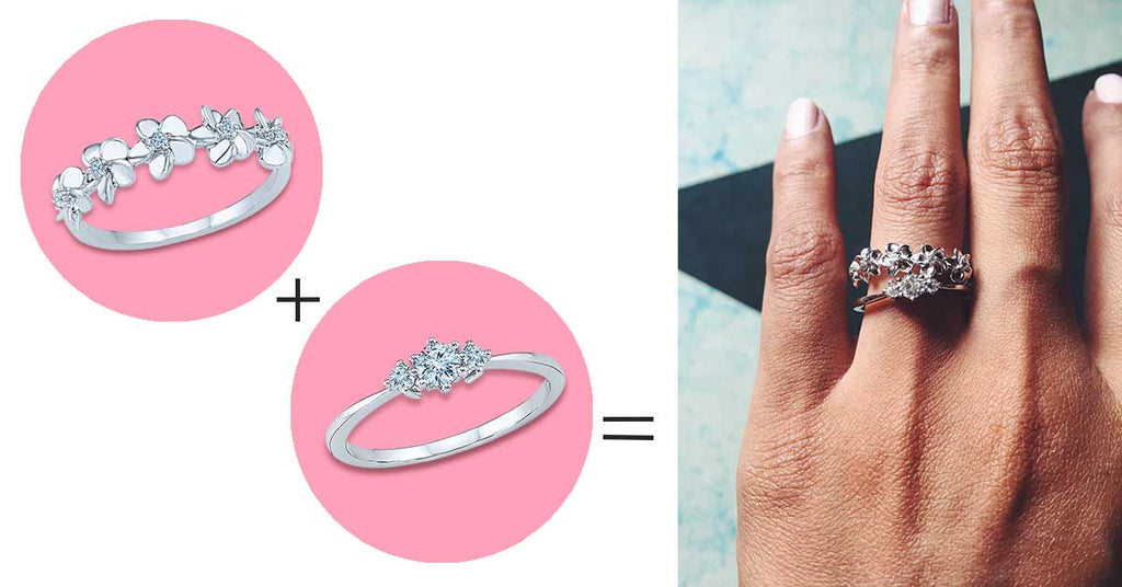 5 ways to style your wedding band -Try a floral motif to add an element of quirk and fun to your stack.