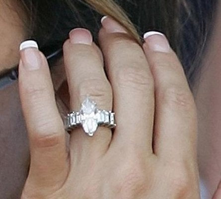 victoria beckhams reset marquise shaped and baguette diamond engagement ring - Victoria Beckham Wedding Ring