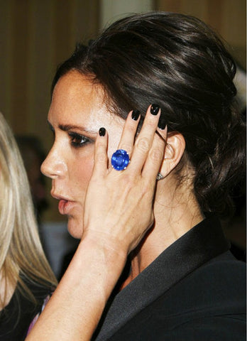 Victoria Beckham's blue sapphire engagement ring