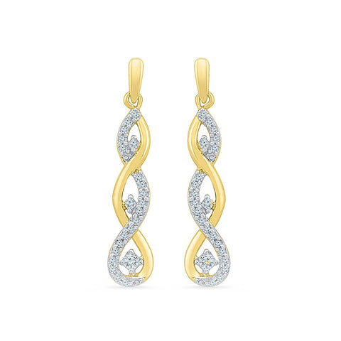 Dancing Diamond Drop Earrings in 14k and 18k gold