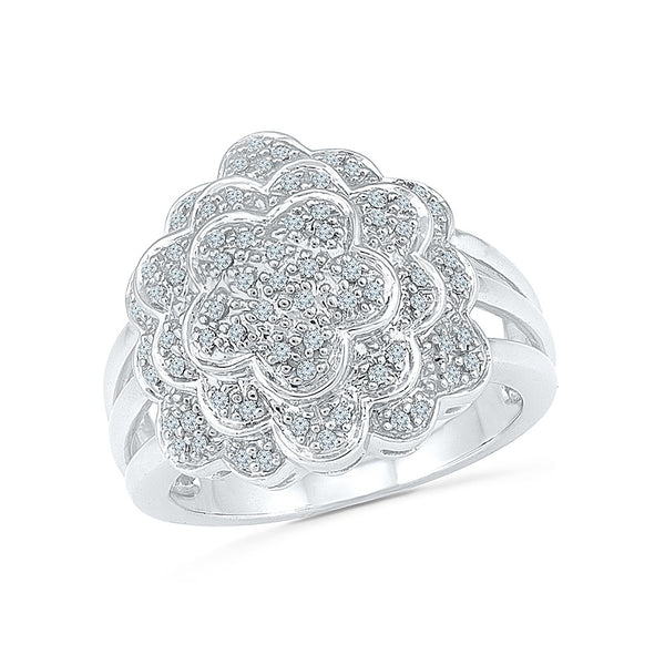 14kt / 18kt white and yellow gold The Mega Flower Diamond Cocktail Ring in Prong setting online for women