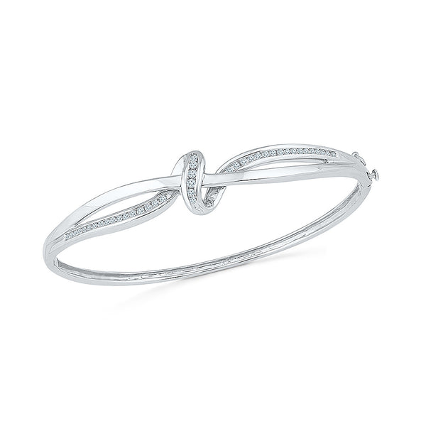diamond bangle for parties  in white and yellow gold