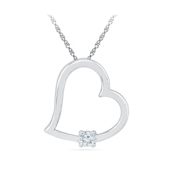 Solitary Heart Diamond Pendant in 14k and 18k Gold online for women