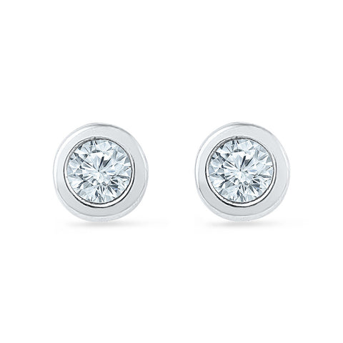 Daddy's Princess Diamond Stud Earrings for kids in gold