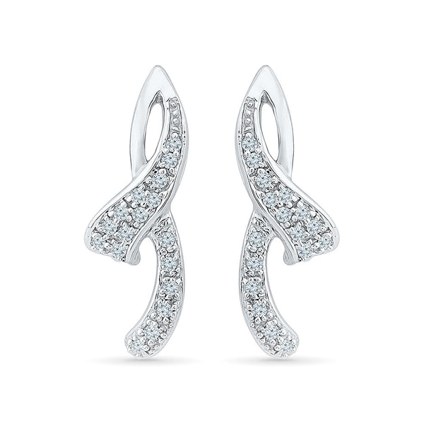 Pretty Ribbon Diamond Drops in 14k and 18k gold for women online